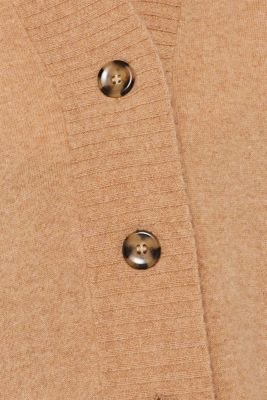 100% cashmere: long cardigan, CAMEL 5, detail