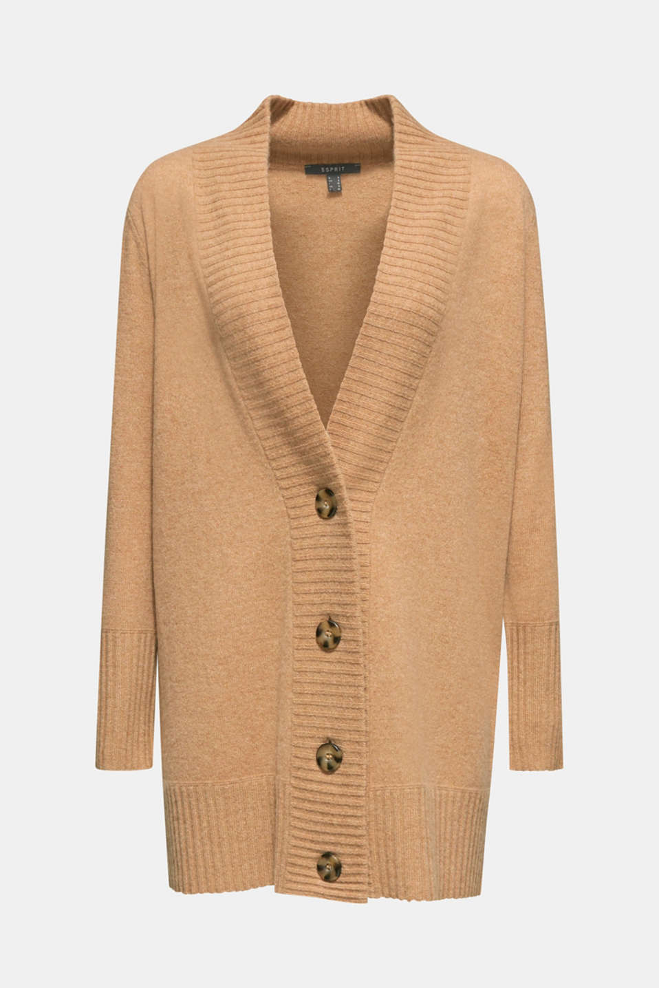 100% cashmere: long cardigan, CAMEL 5, detail image number 6