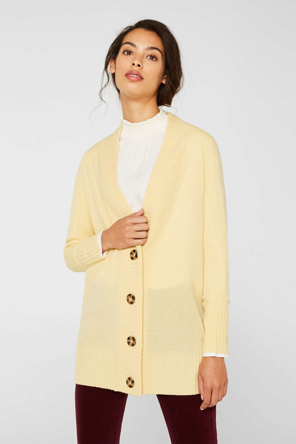 100% cashmere: long cardigan, LIGHT YELLOW 5, detail image number 0