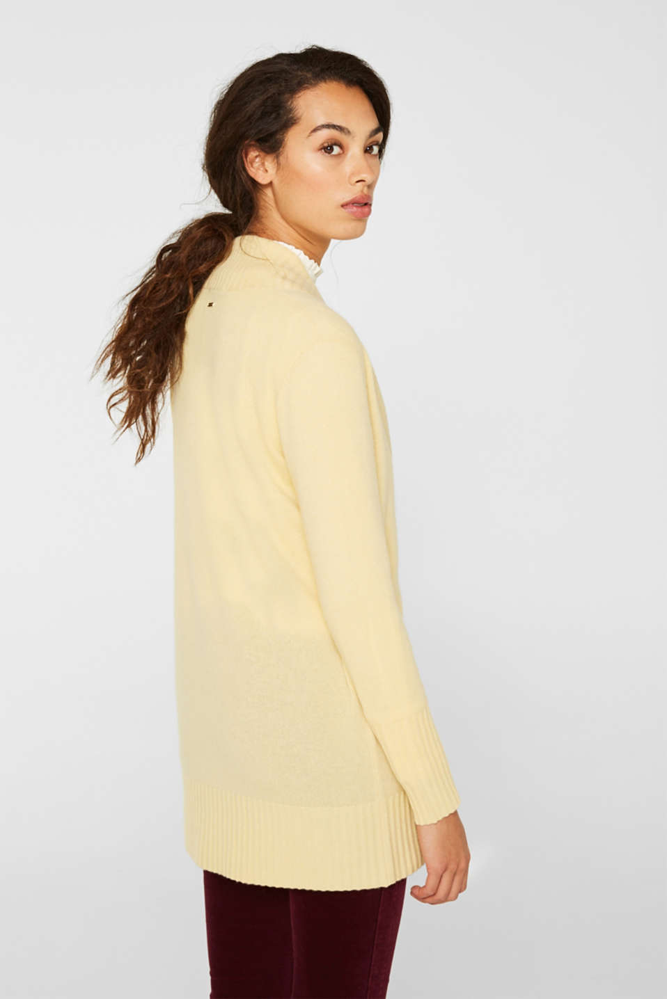 100% cashmere: long cardigan, LIGHT YELLOW 5, detail image number 3
