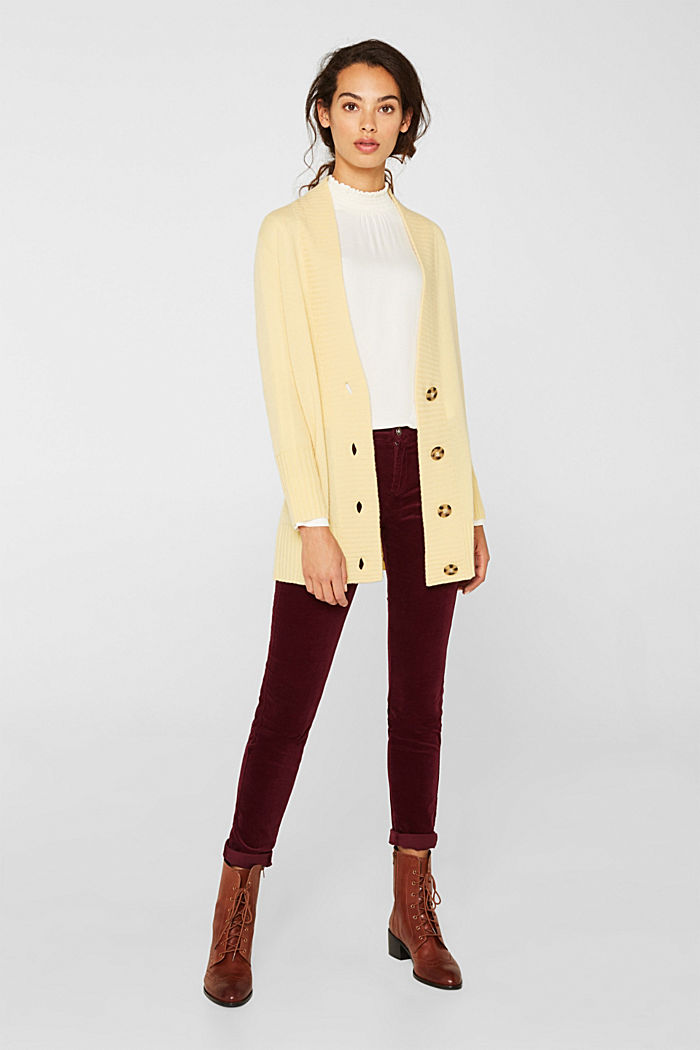 100% cashmere: long cardigan, LIGHT YELLOW, detail image number 1