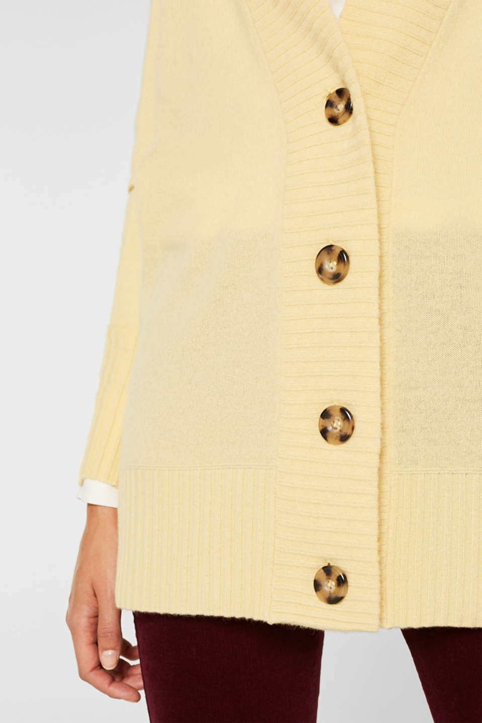 100% cashmere: long cardigan, LIGHT YELLOW 5, detail image number 2