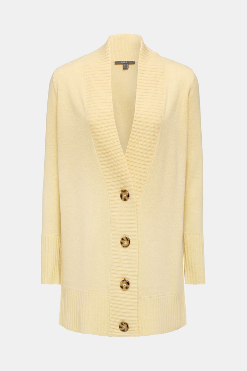 100% cashmere: long cardigan, LIGHT YELLOW 5, detail image number 5
