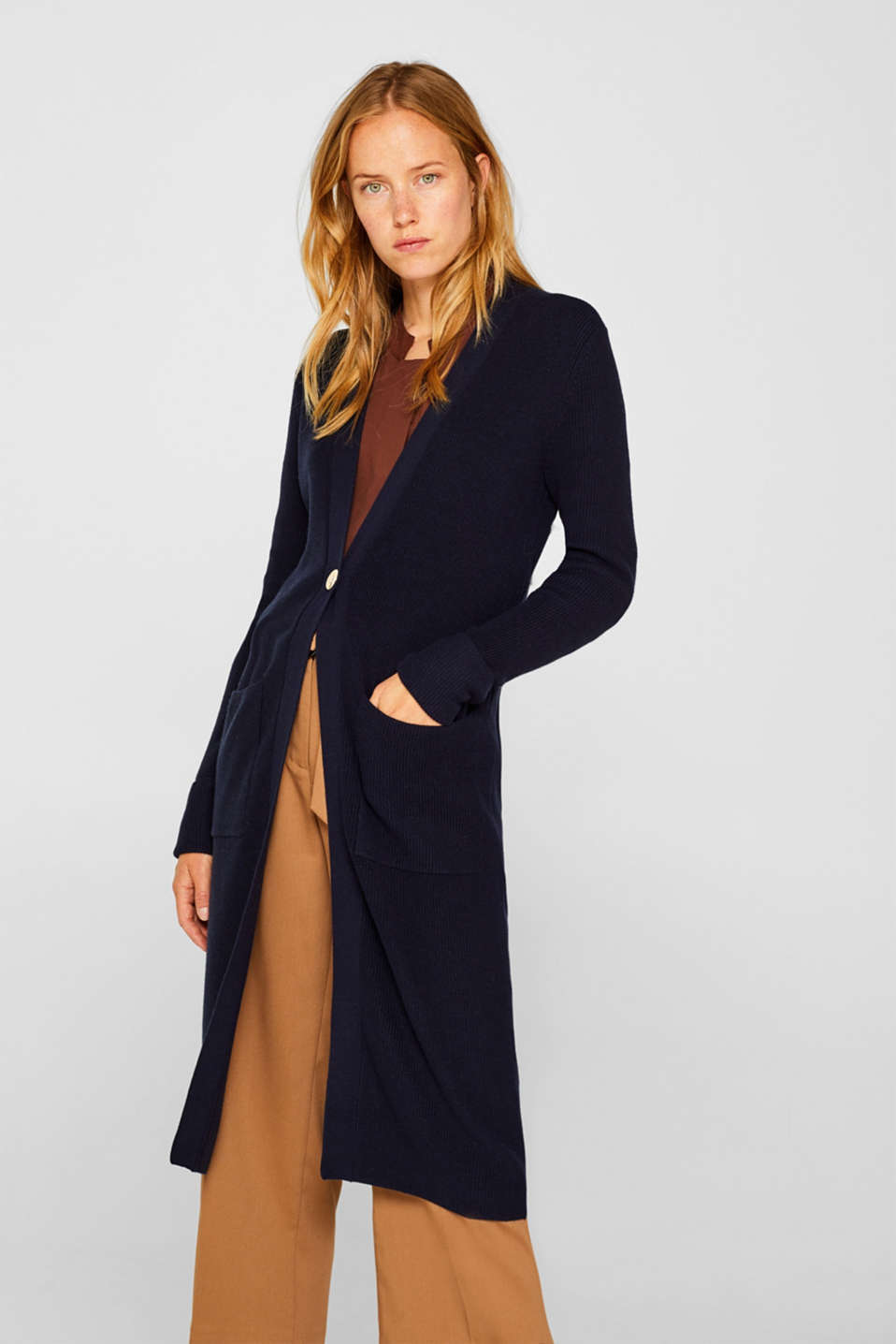 With cashmere: Long, rib knit cardigan, NAVY 2, detail image number 0
