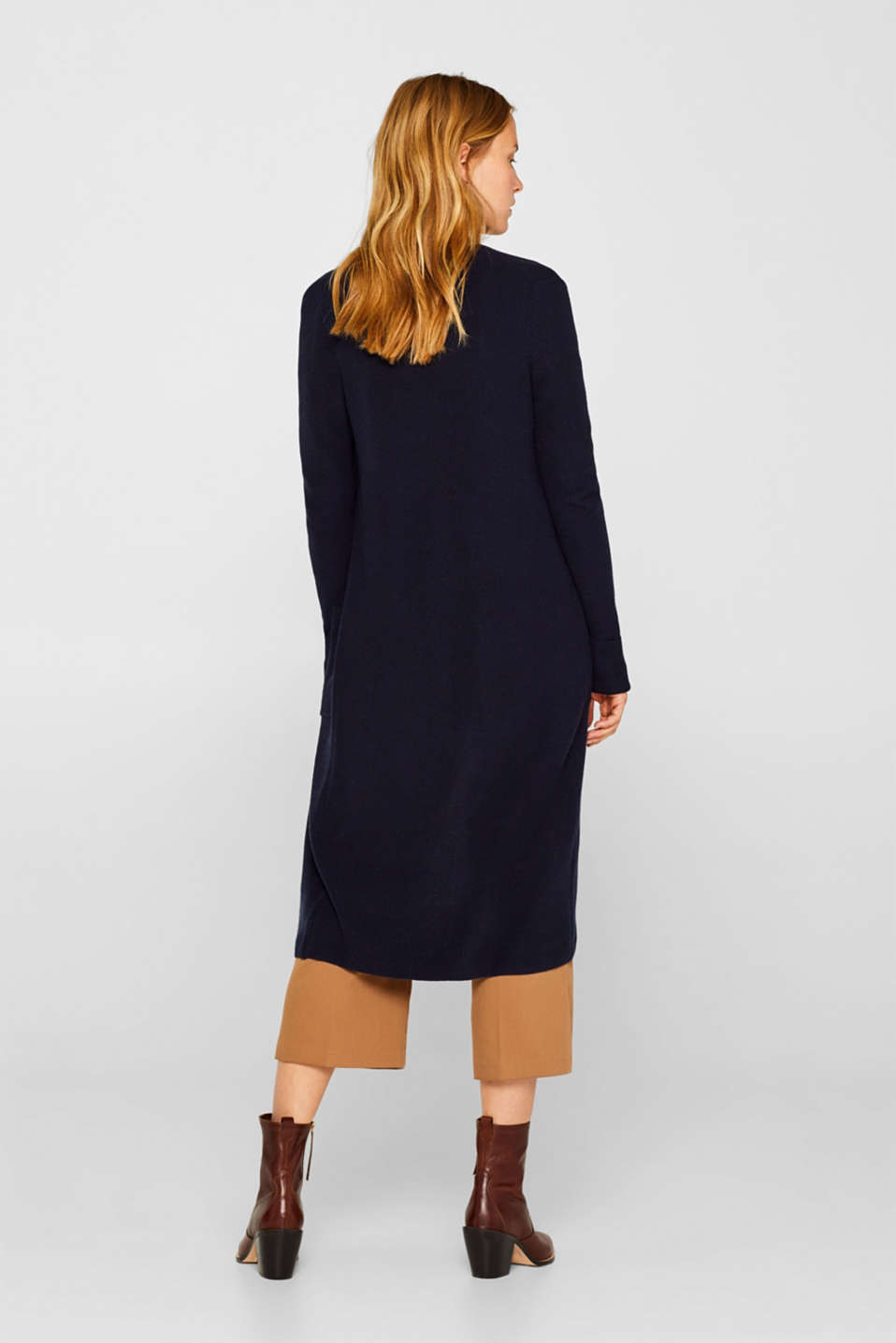 With cashmere: Long, rib knit cardigan, NAVY 2, detail image number 3