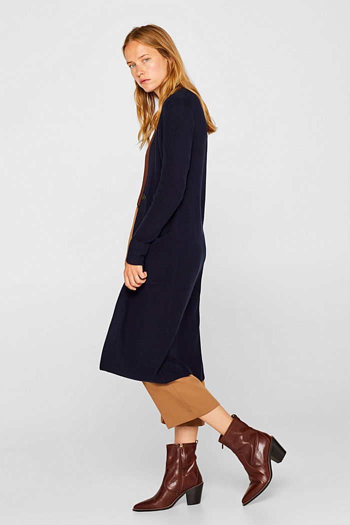 With cashmere: Long, rib knit cardigan, NAVY, detail image number 1
