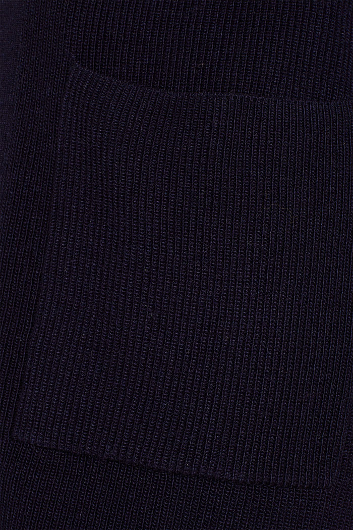 With cashmere: Long, rib knit cardigan, NAVY, detail image number 4