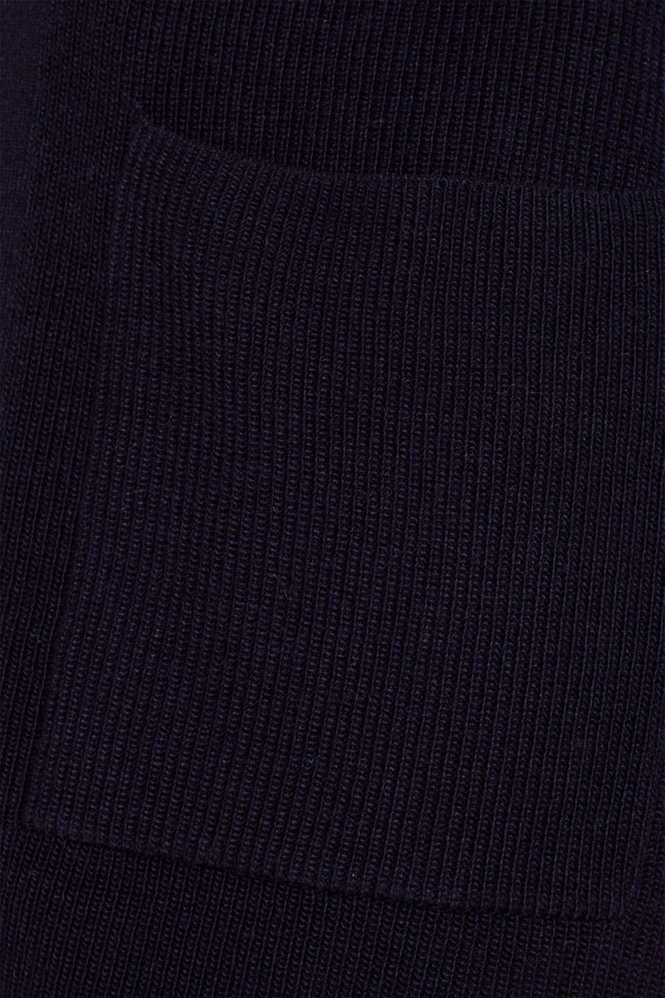 With cashmere: Long, rib knit cardigan, NAVY 2, detail image number 4