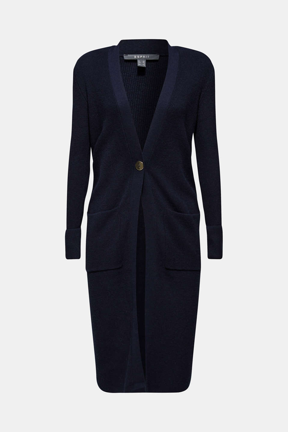 With cashmere: Long, rib knit cardigan, NAVY 2, detail image number 5