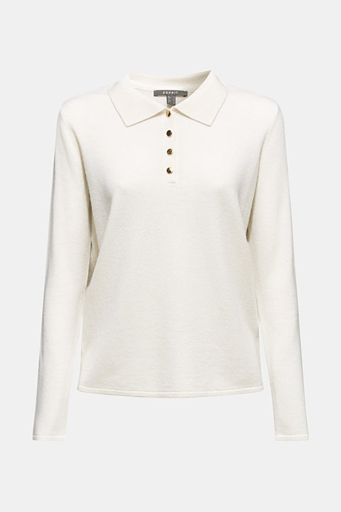 With cashmere: polo-neck jumper with a polo collar
