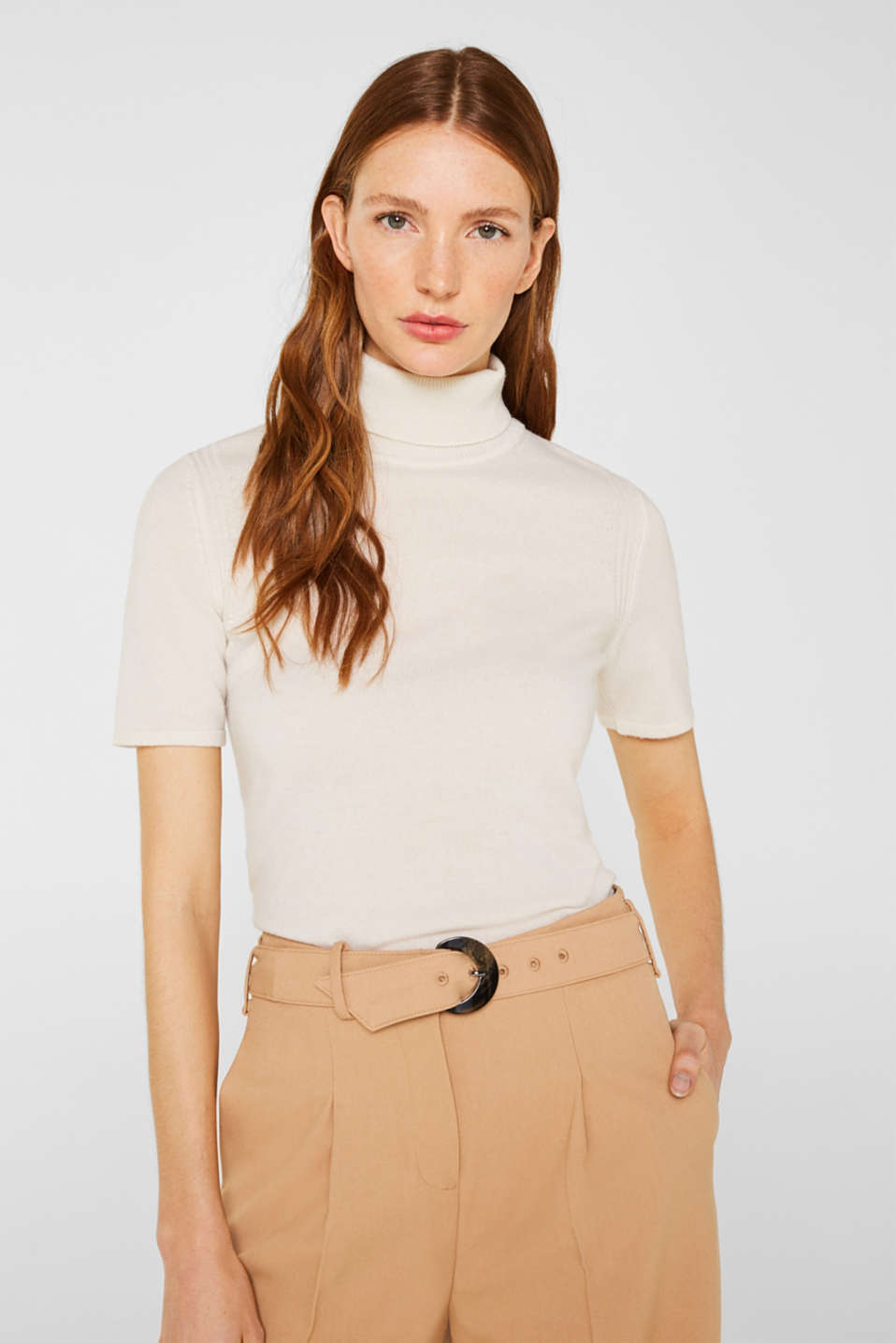 With cashmere: knitted top with a polo neck, OFF WHITE, detail image number 0