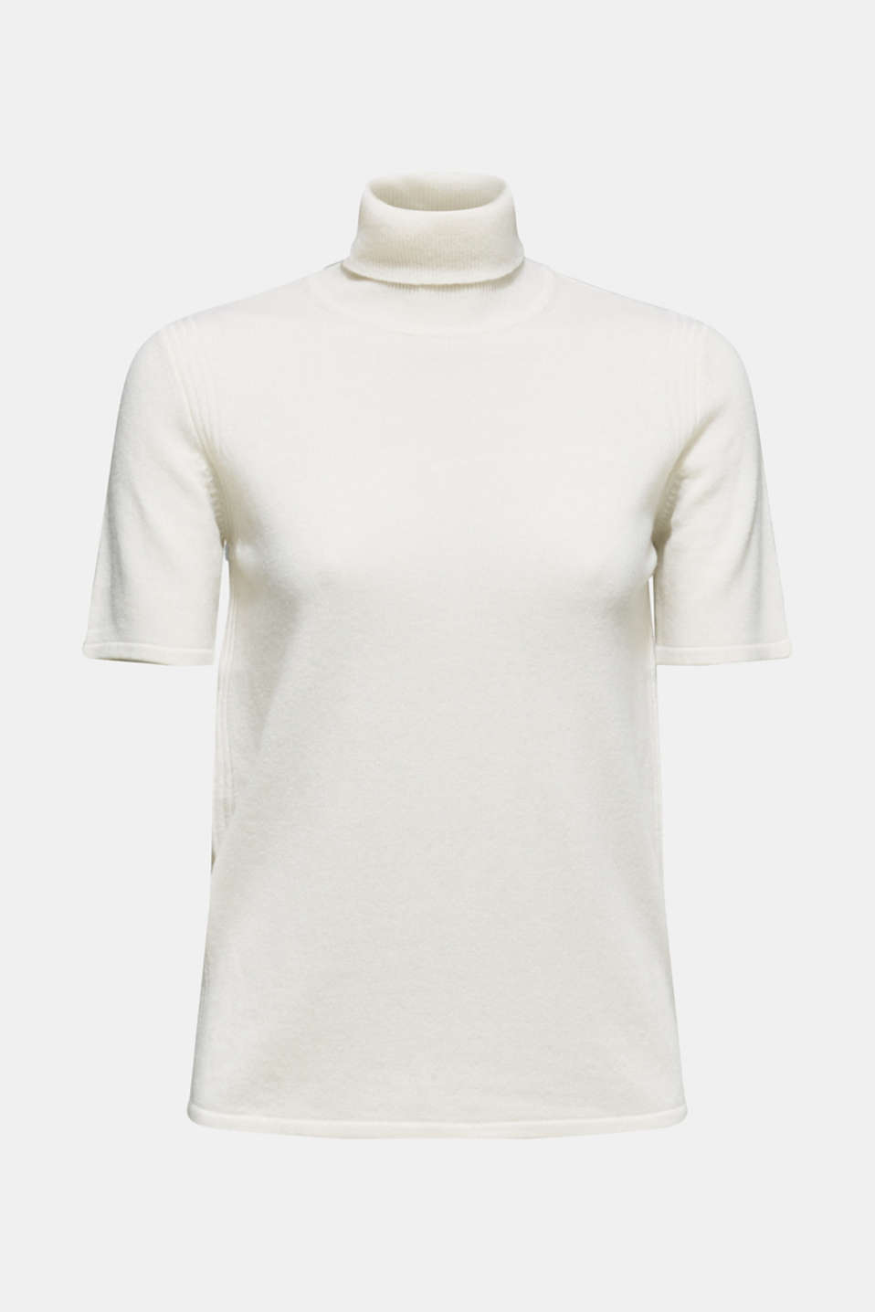 With cashmere: knitted top with a polo neck, OFF WHITE, detail image number 7
