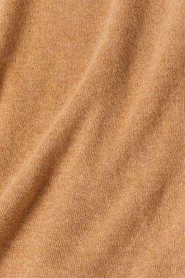 With cashmere: knitted top with a polo neck, CAMEL 5, detail