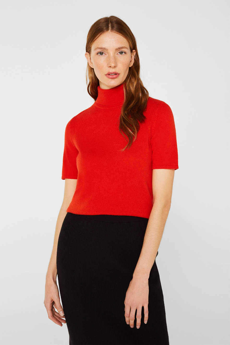 With cashmere: knitted top with a polo neck, ORANGE RED, detail image number 0