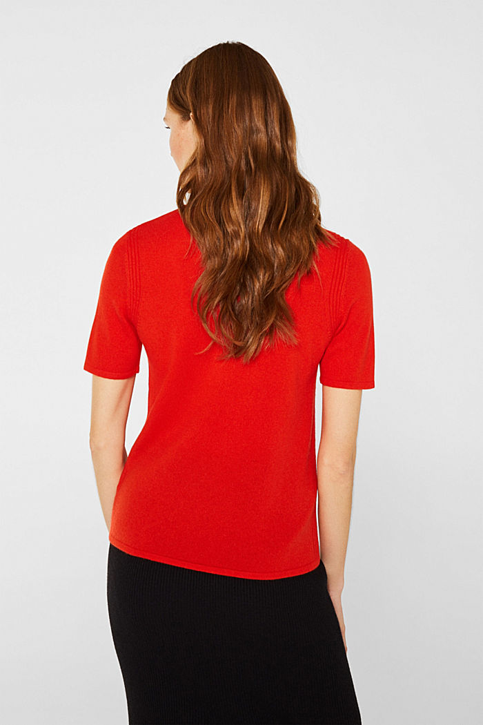 With cashmere: knitted top with a polo neck, ORANGE RED, detail image number 3