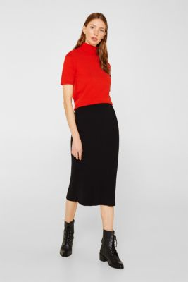 With cashmere: knitted top with a polo neck, ORANGE RED, detail