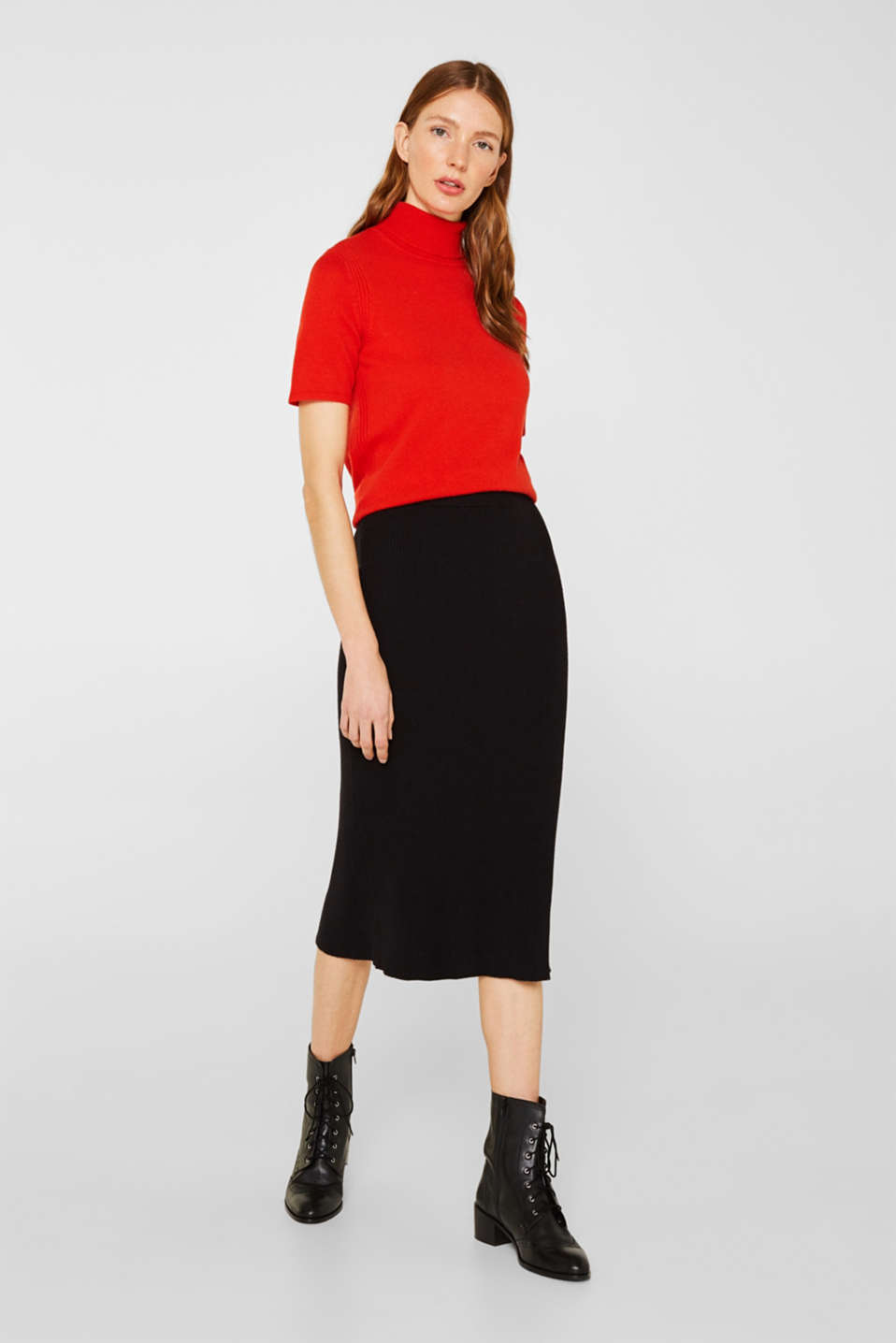 With cashmere: knitted top with a polo neck, ORANGE RED, detail image number 1