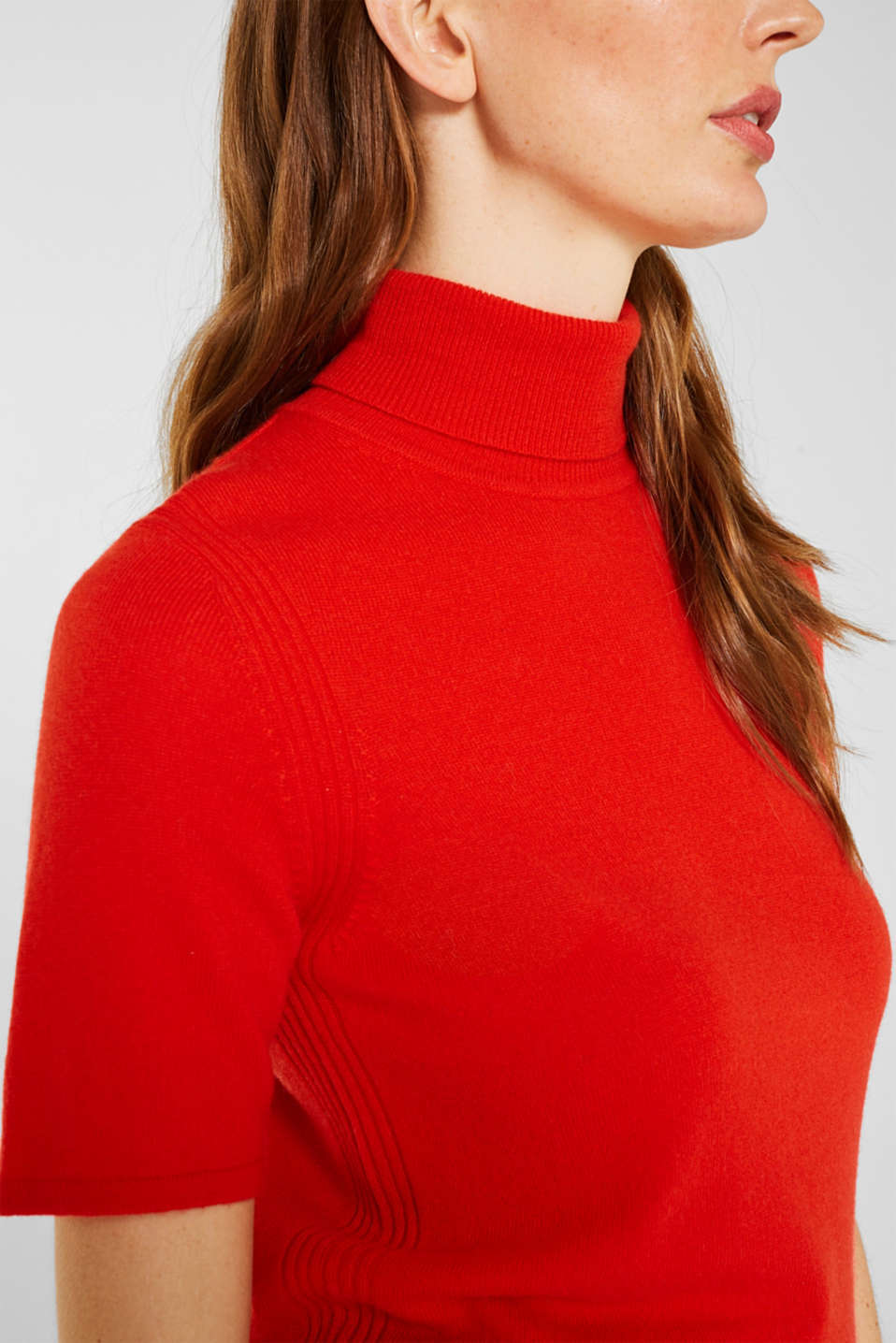 With cashmere: knitted top with a polo neck, ORANGE RED, detail image number 2
