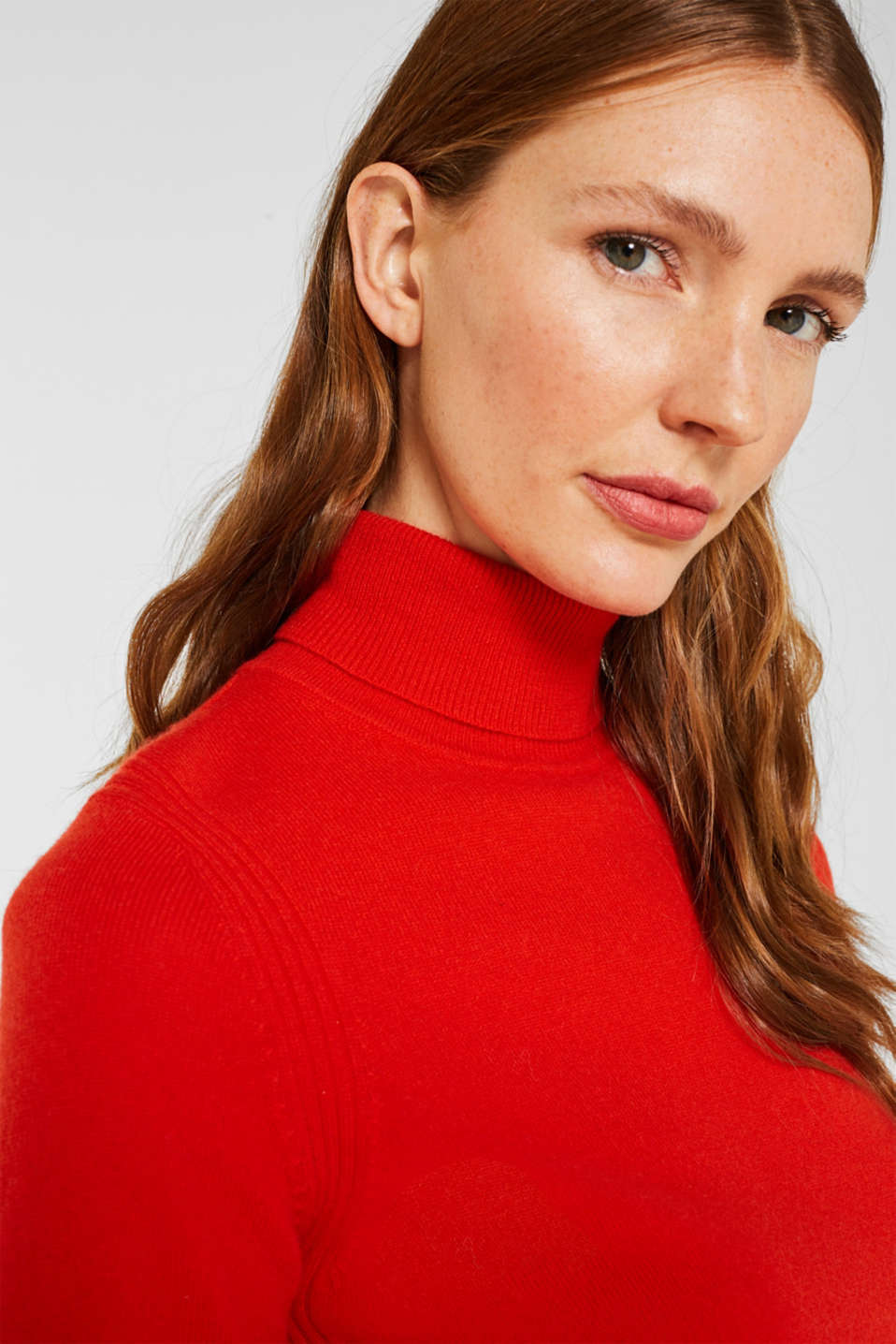 With cashmere: knitted top with a polo neck, ORANGE RED, detail image number 5