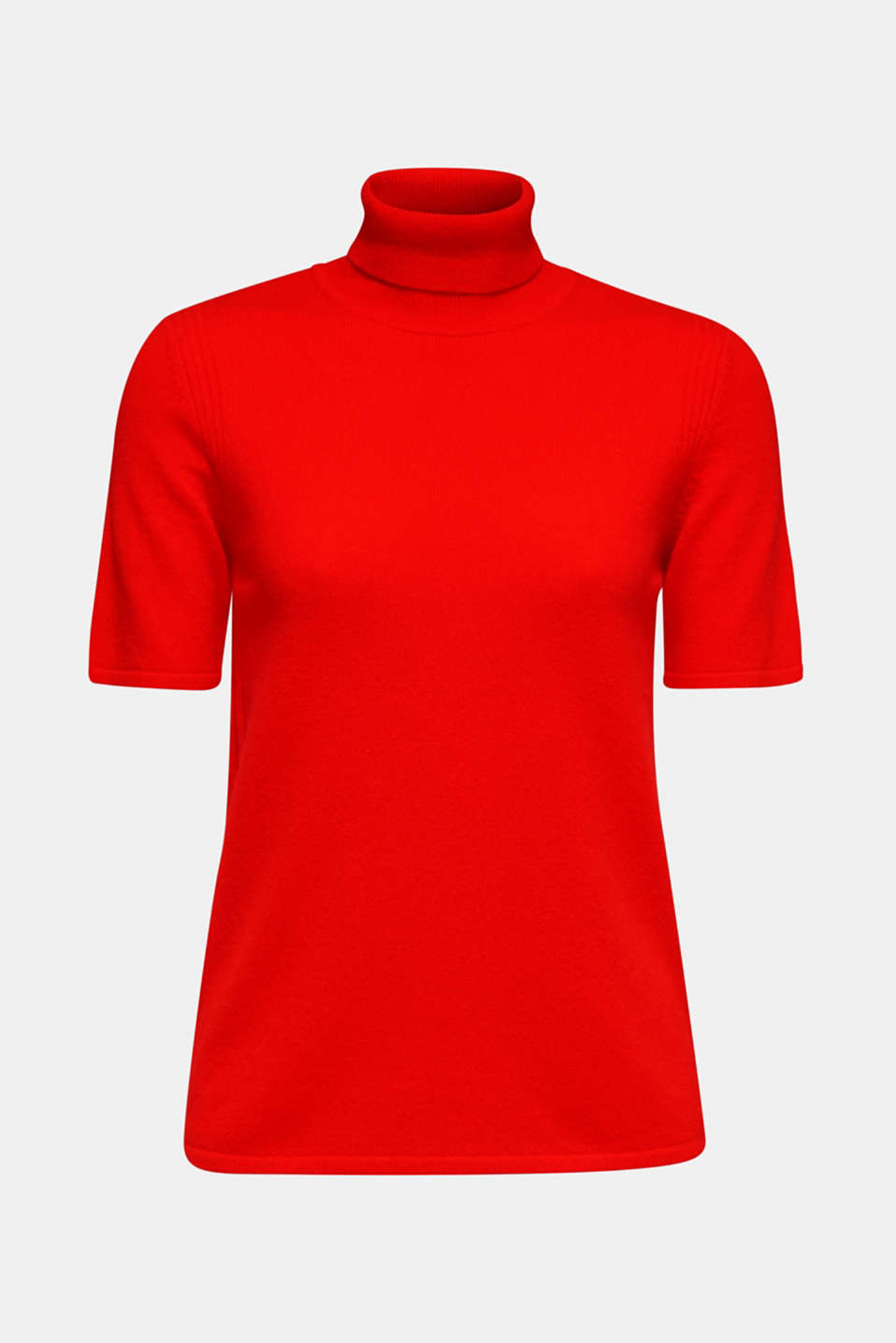 With cashmere: knitted top with a polo neck, ORANGE RED, detail image number 6