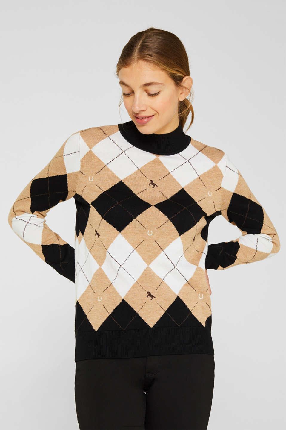 Esprit Mit Wolle: Pullover mit Rauten Muster im Online