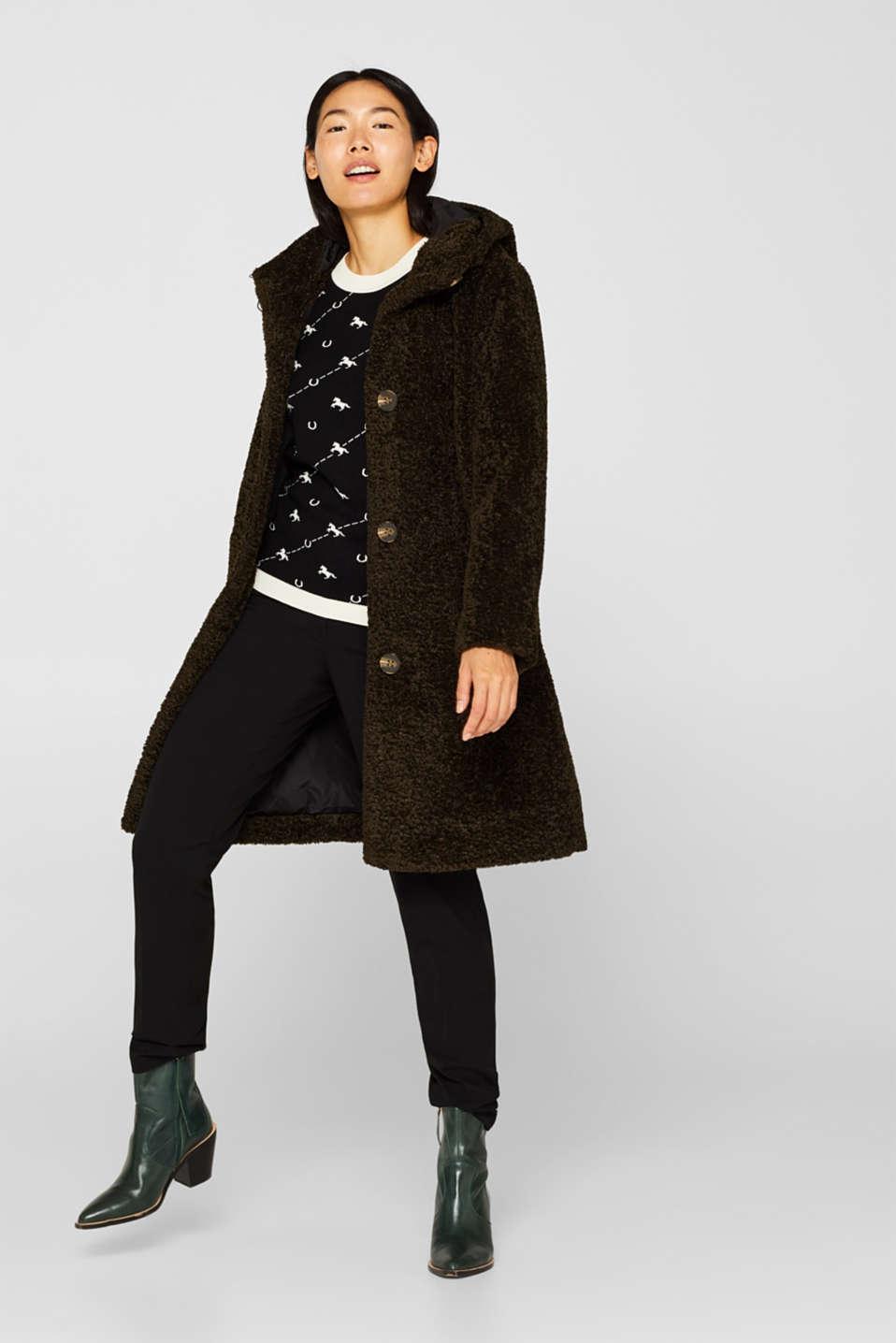 Short sleeve jumper with a jacquard pattern, BLACK, detail image number 1