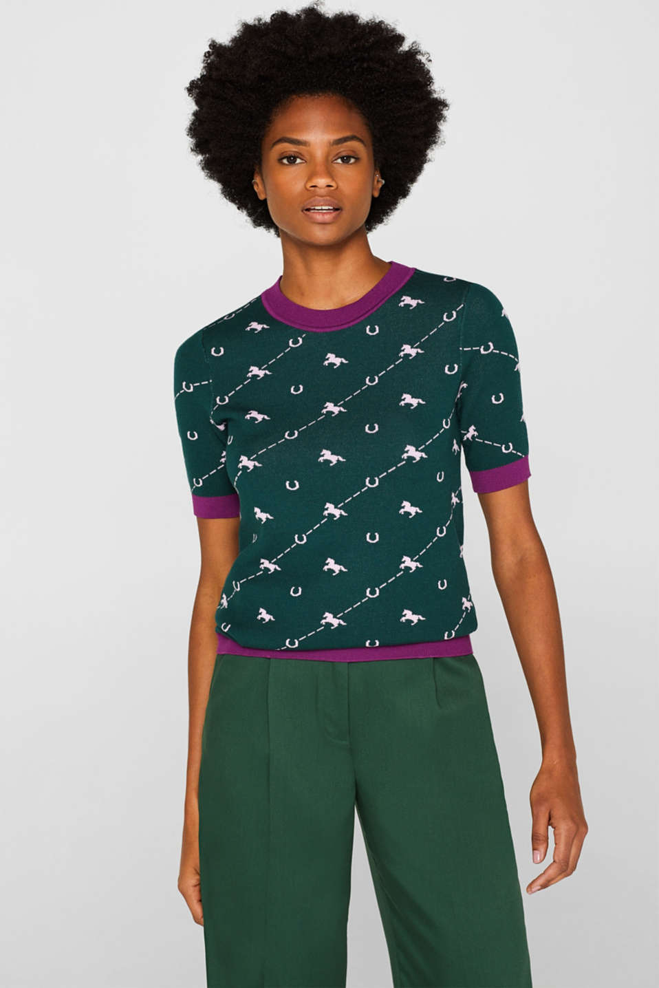 Esprit - Short sleeve jumper with a jacquard pattern