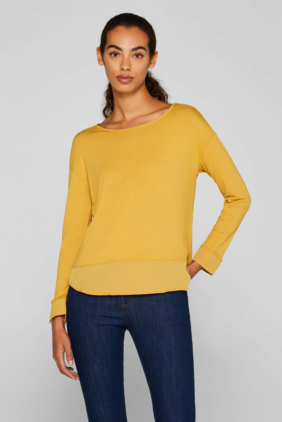 Esprit - Long sleeve stretch top in a fabric mix