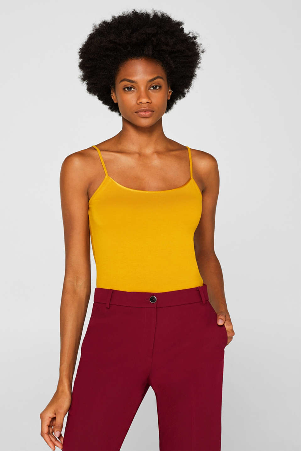 Esprit - Top stretch con bordo in raso