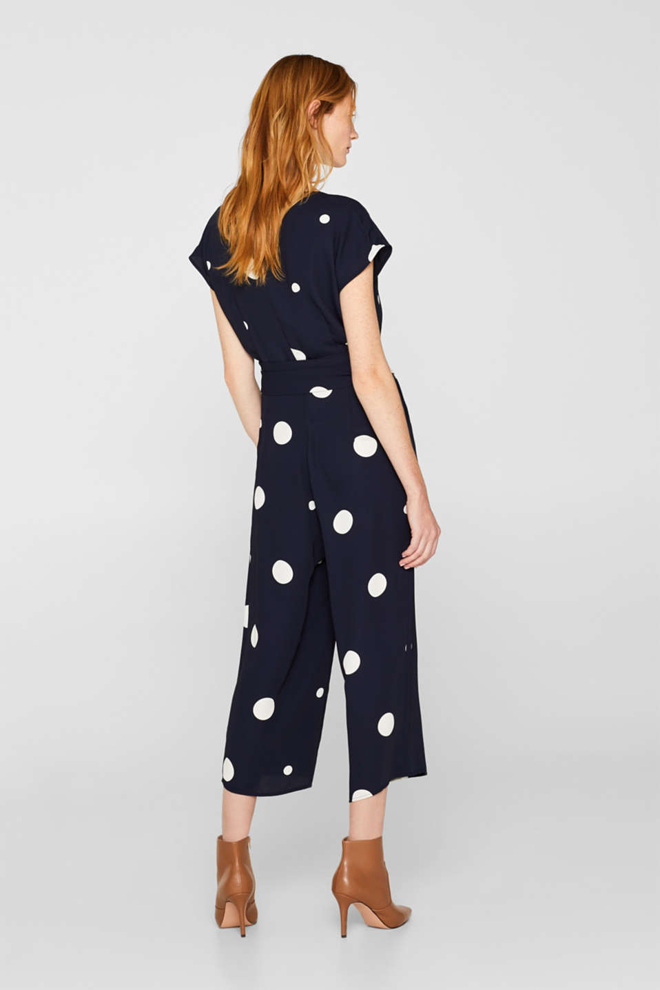 Culotte jumpsuit with XXL polka dots, NAVY, detail image number 3
