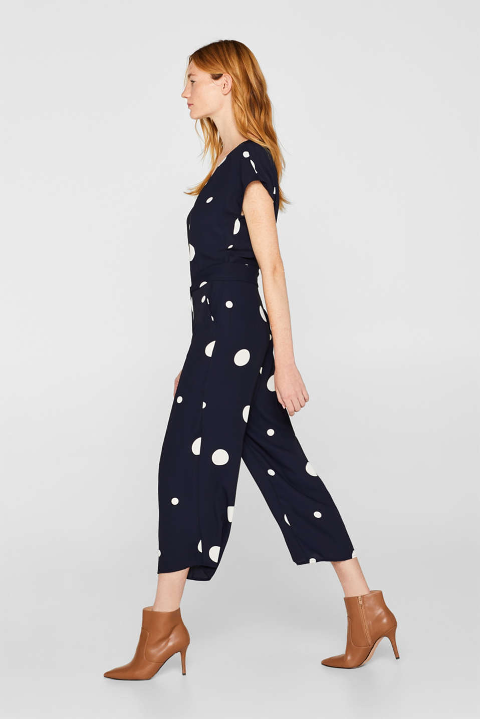 Culotte jumpsuit with XXL polka dots, NAVY, detail image number 5