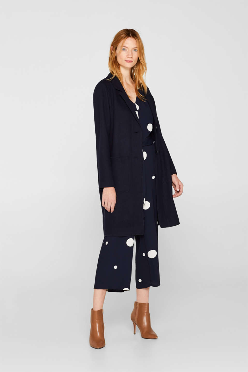 Culotte jumpsuit with XXL polka dots, NAVY, detail image number 1
