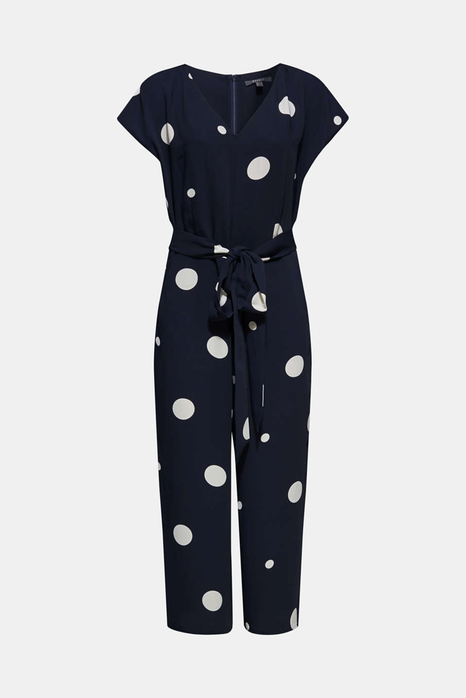 Culotte jumpsuit with XXL polka dots, NAVY, detail image number 6