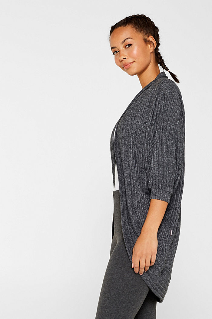 Ribbed stretch jersey cardigan, recycled, ANTHRACITE, detail image number 0