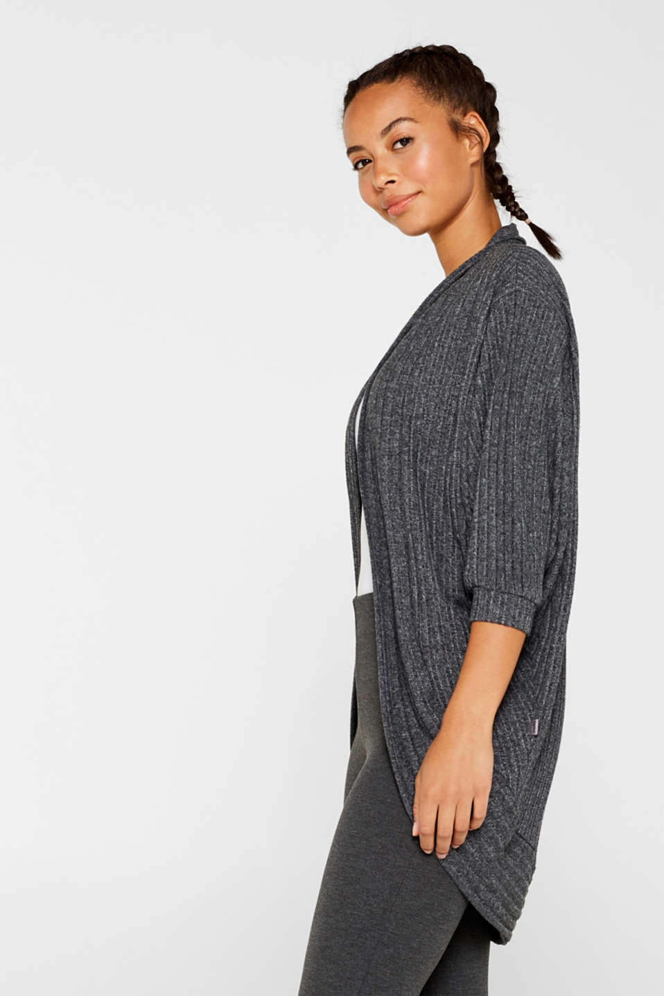Esprit - Ribbed stretch jersey cardigan, recycled