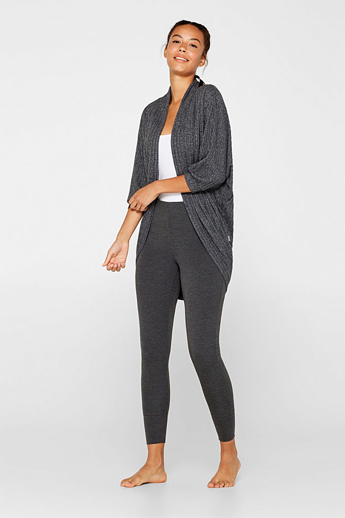 Ribbed stretch jersey cardigan, recycled, ANTHRACITE, detail image number 1