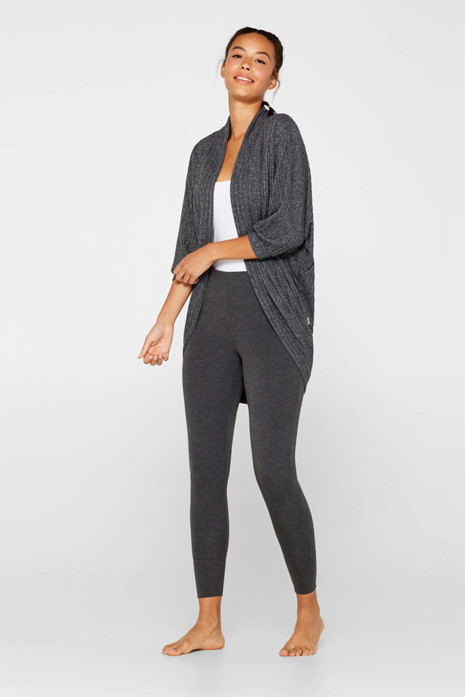 Ribbed stretch jersey cardigan, recycled, ANTHRACITE 2, detail image number 1