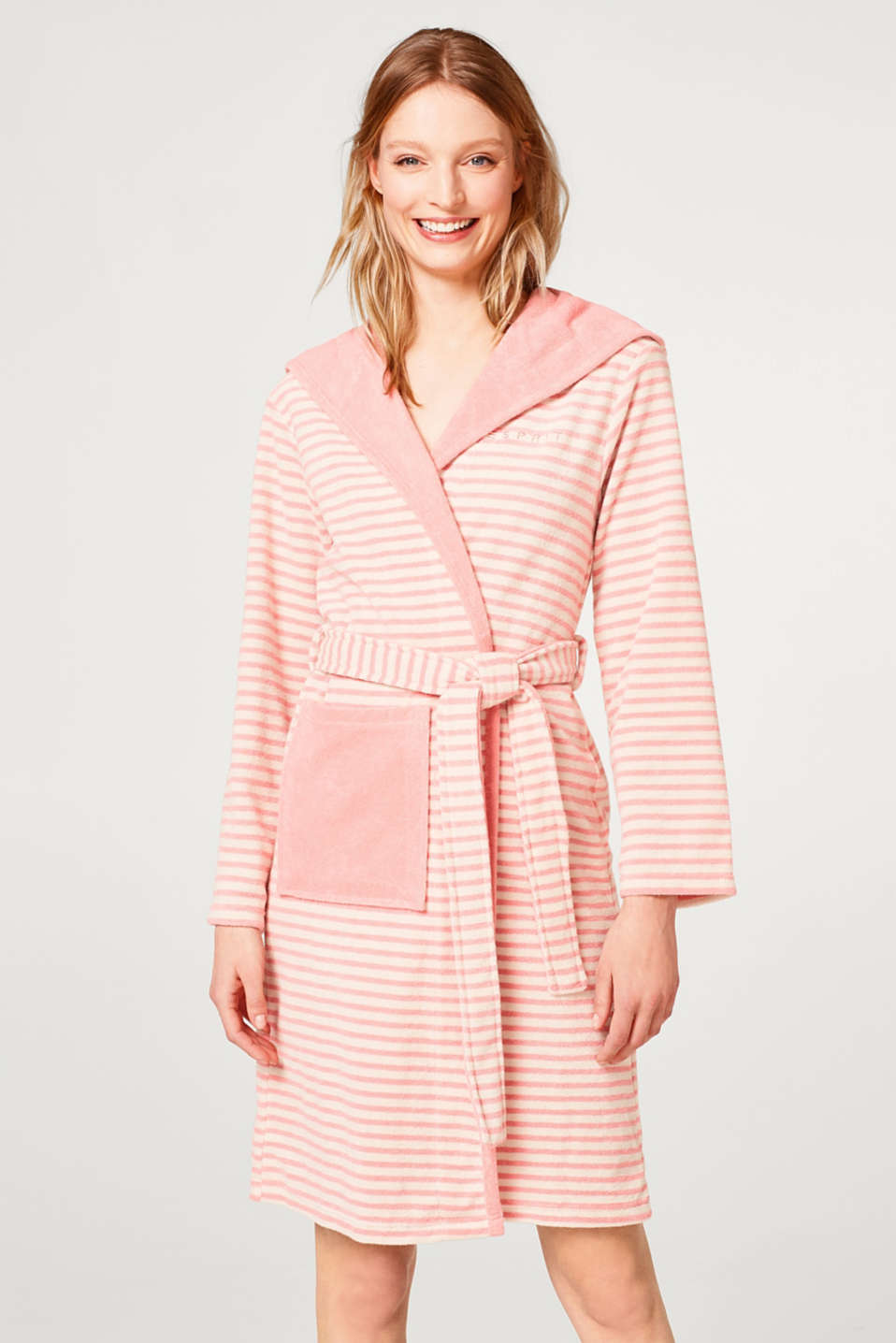 Esprit - Terrycloth bathrobe with hood, in blended cotton