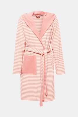 Terrycloth bathrobe with hood, in blended cotton, DUSTY PINK, detail