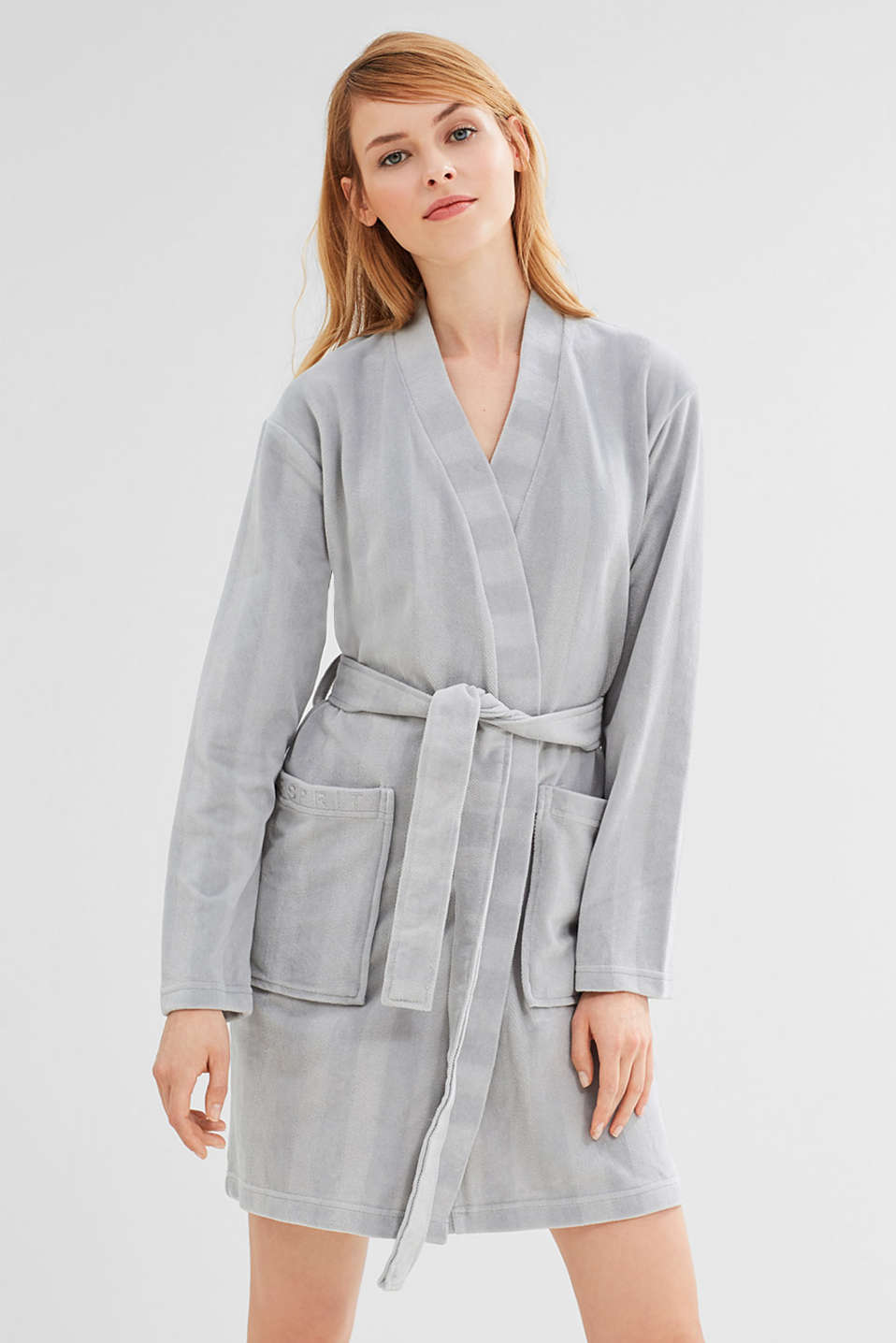 Dinah kimono in blended cotton, GREY, detail image number 1