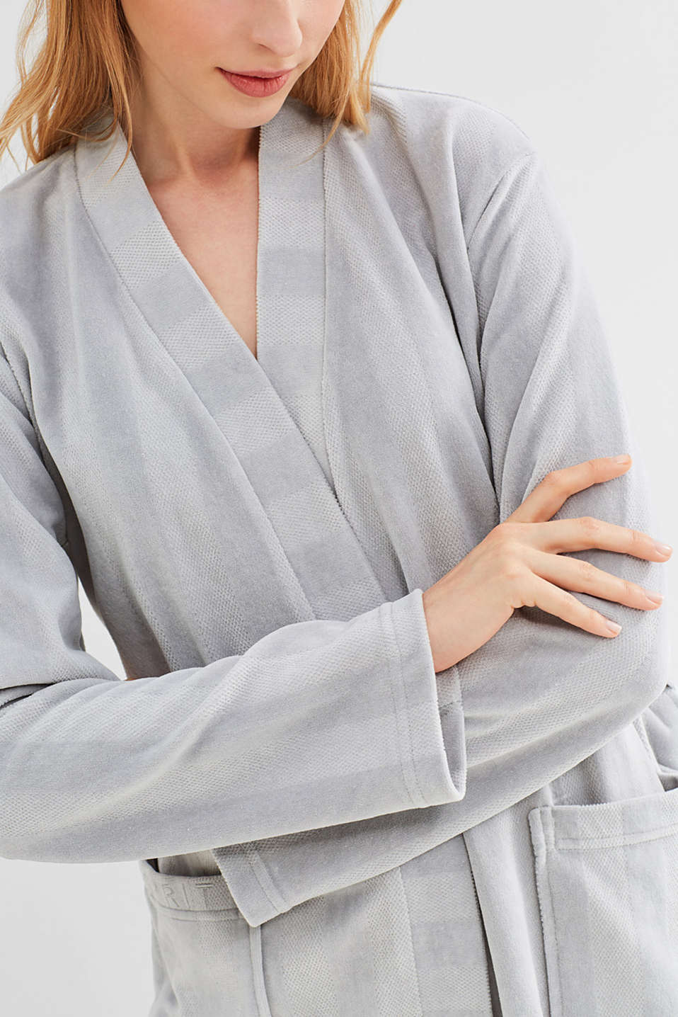 Dinah kimono in blended cotton, GREY, detail image number 2