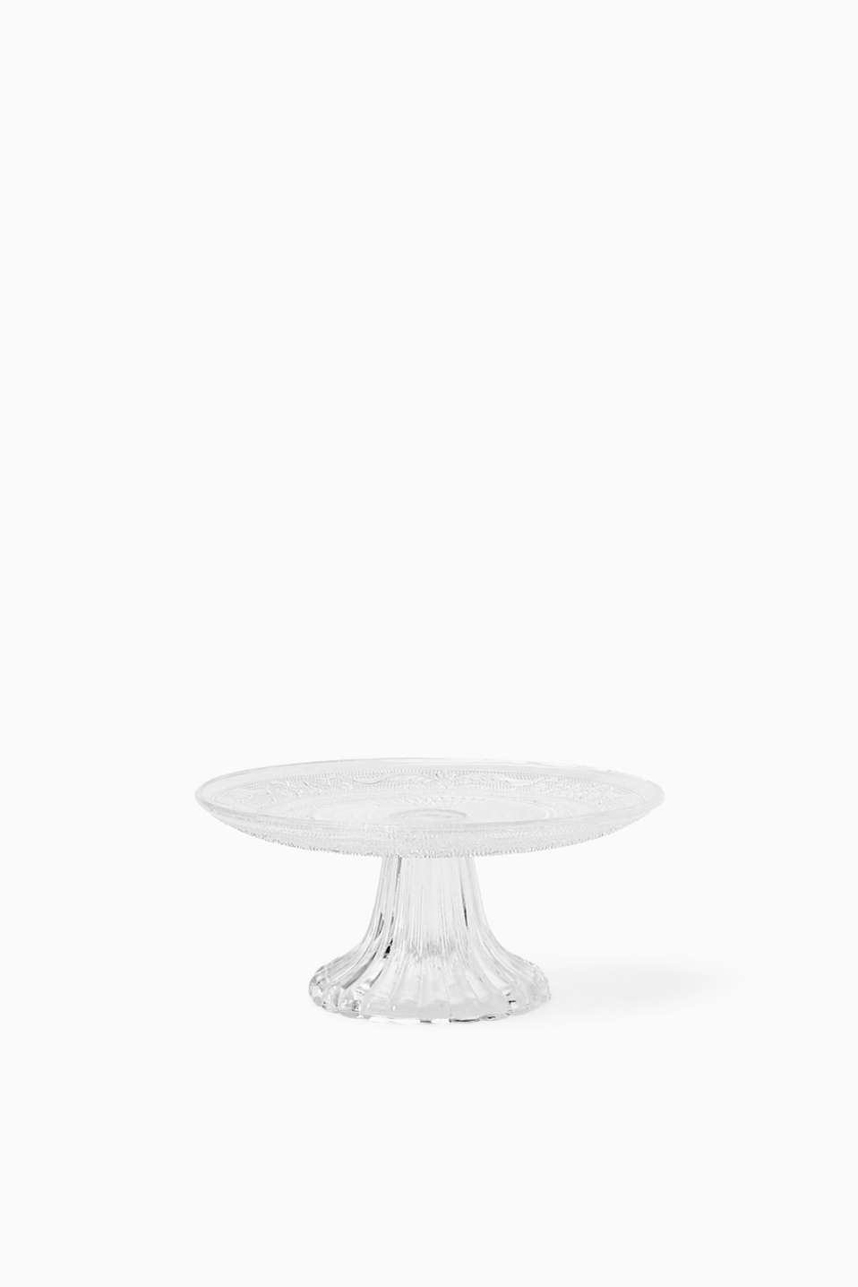 Patterned cake stand with a footed base, made of glass