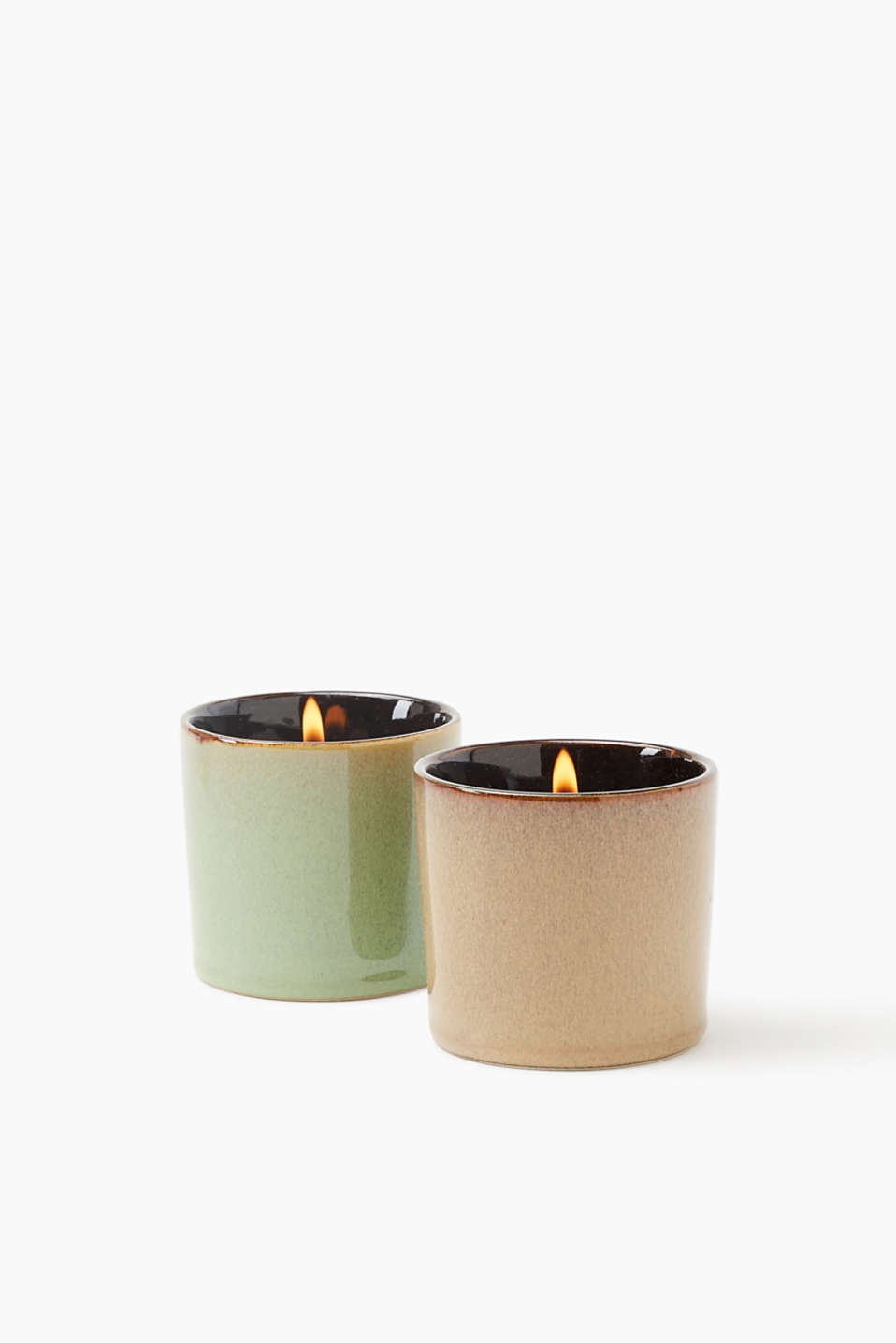 Petya candle double pack in clay pots, BROWN/GREEN, detail image number 0