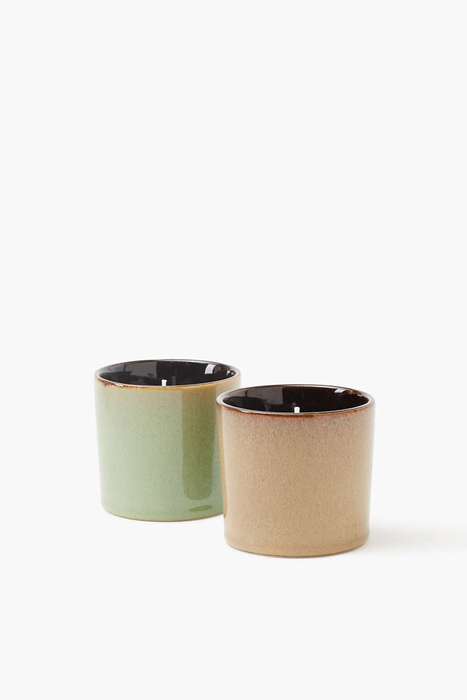 Petya candle double pack in clay pots, BROWN/GREEN, detail image number 2