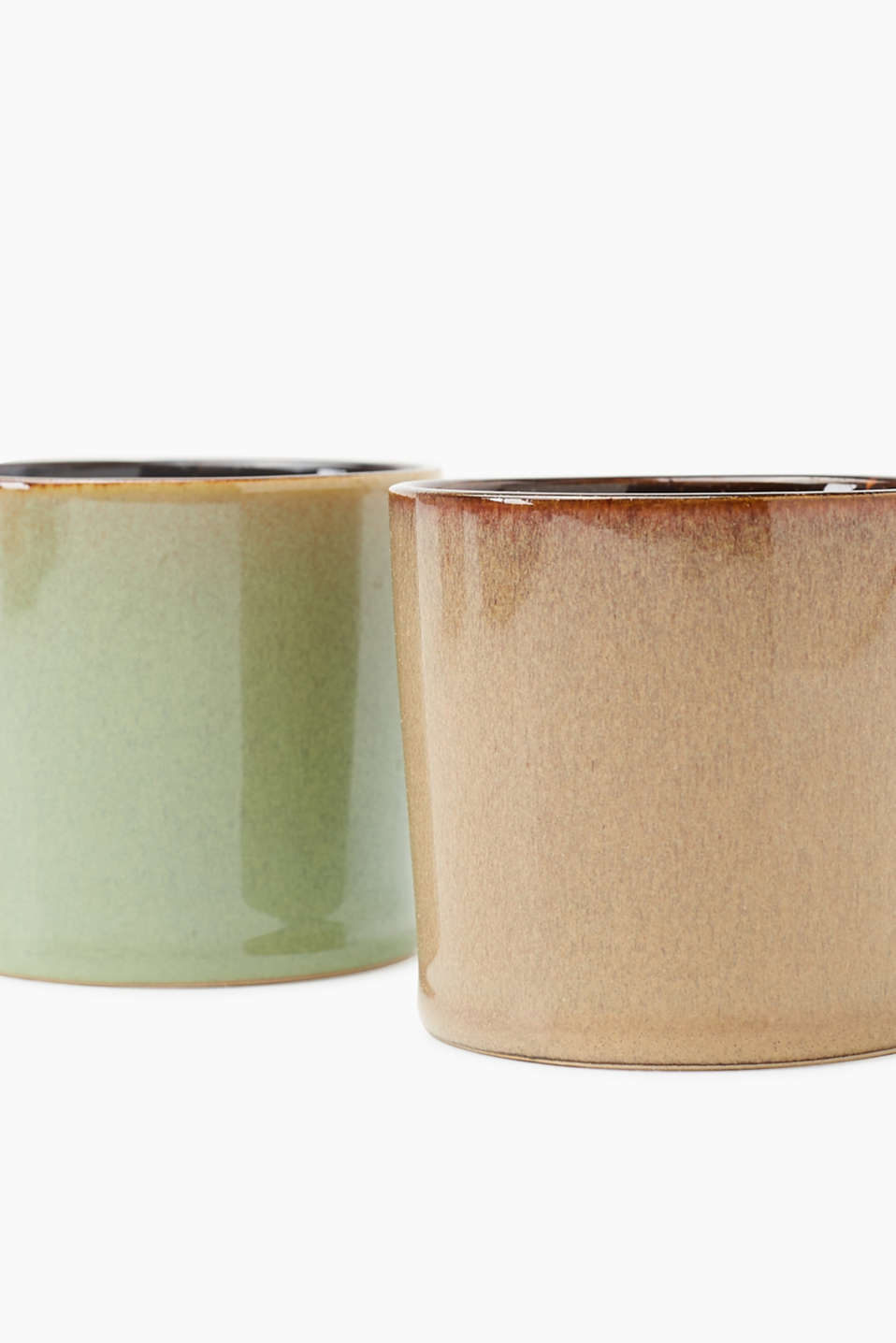 Petya candle double pack in clay pots, BROWN/GREEN, detail image number 1