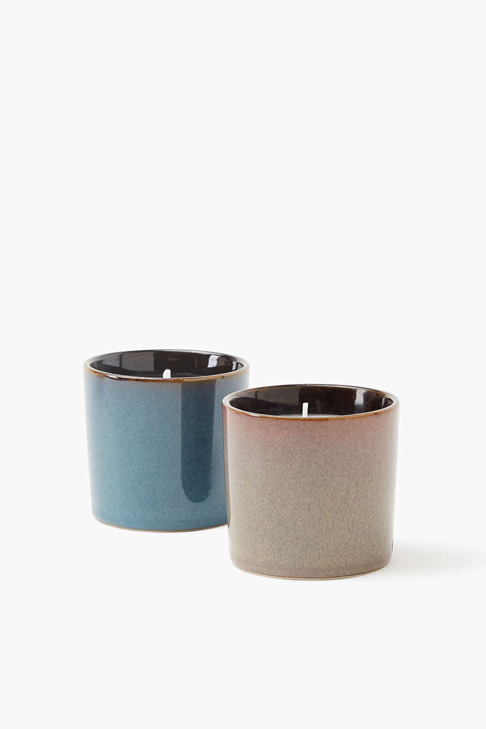 Petya candle double pack in clay pots, GREY/BLUE, detail image number 2