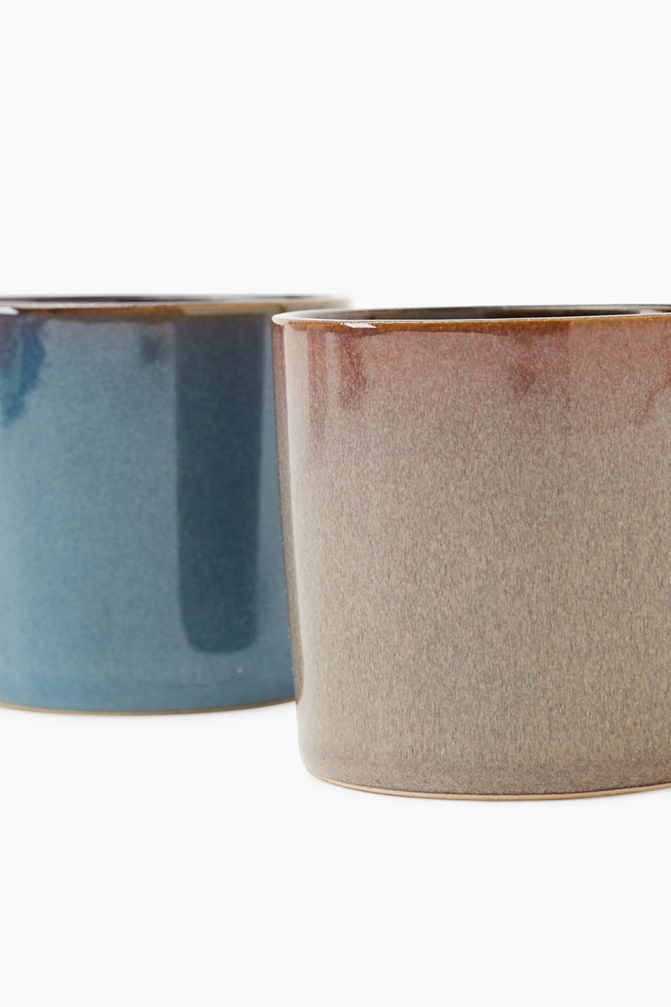 Petya candle double pack in clay pots, GREY/BLUE, detail image number 1
