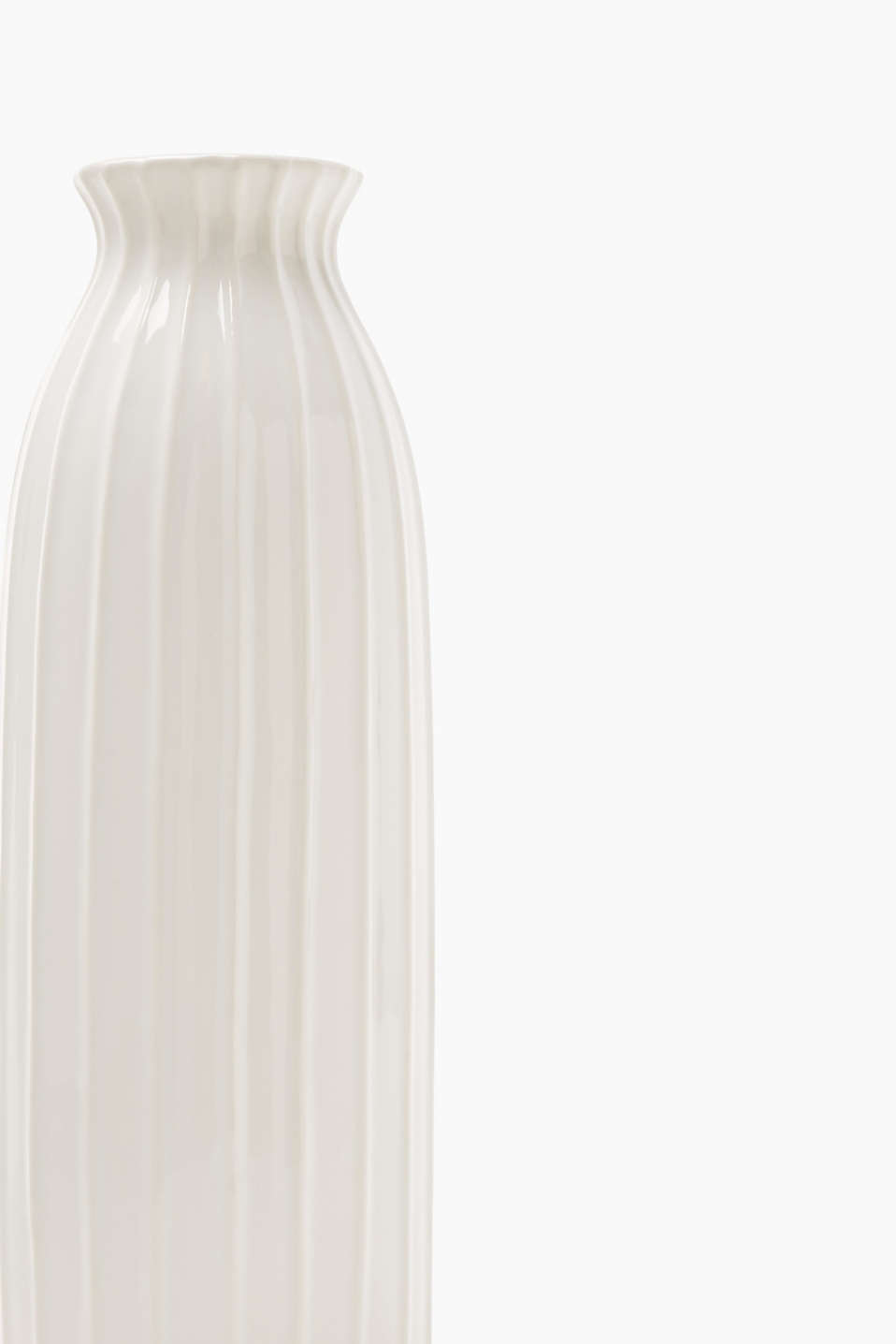 Ceramic vase with textured stripes, WHITE, detail image number 1
