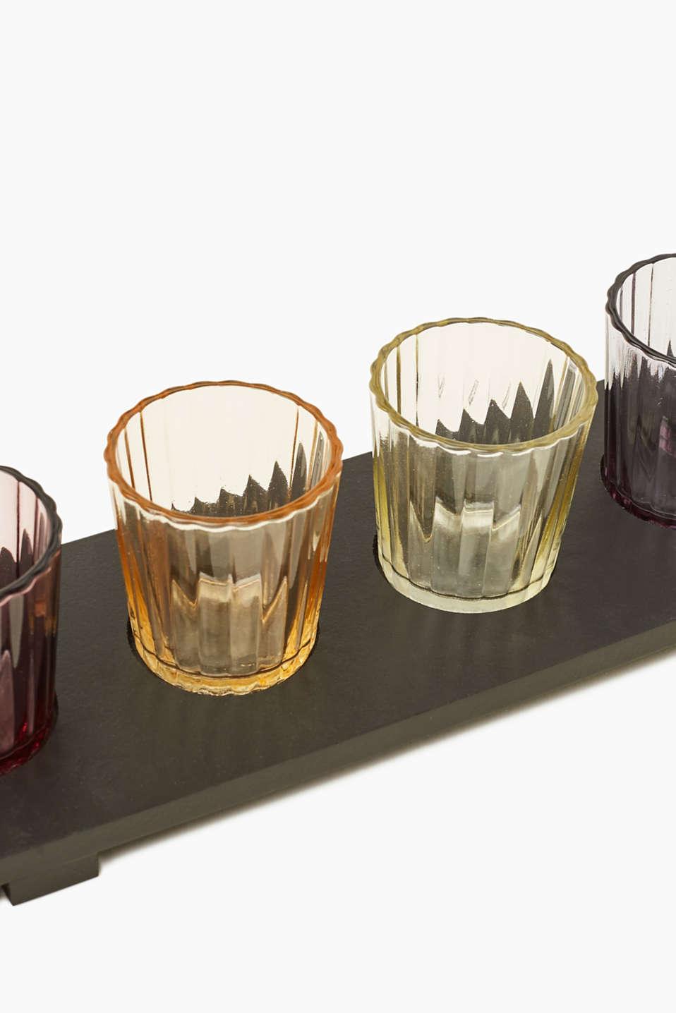 Vadik tealight holder set in wood and glass, MULTICOLOR, detail image number 1