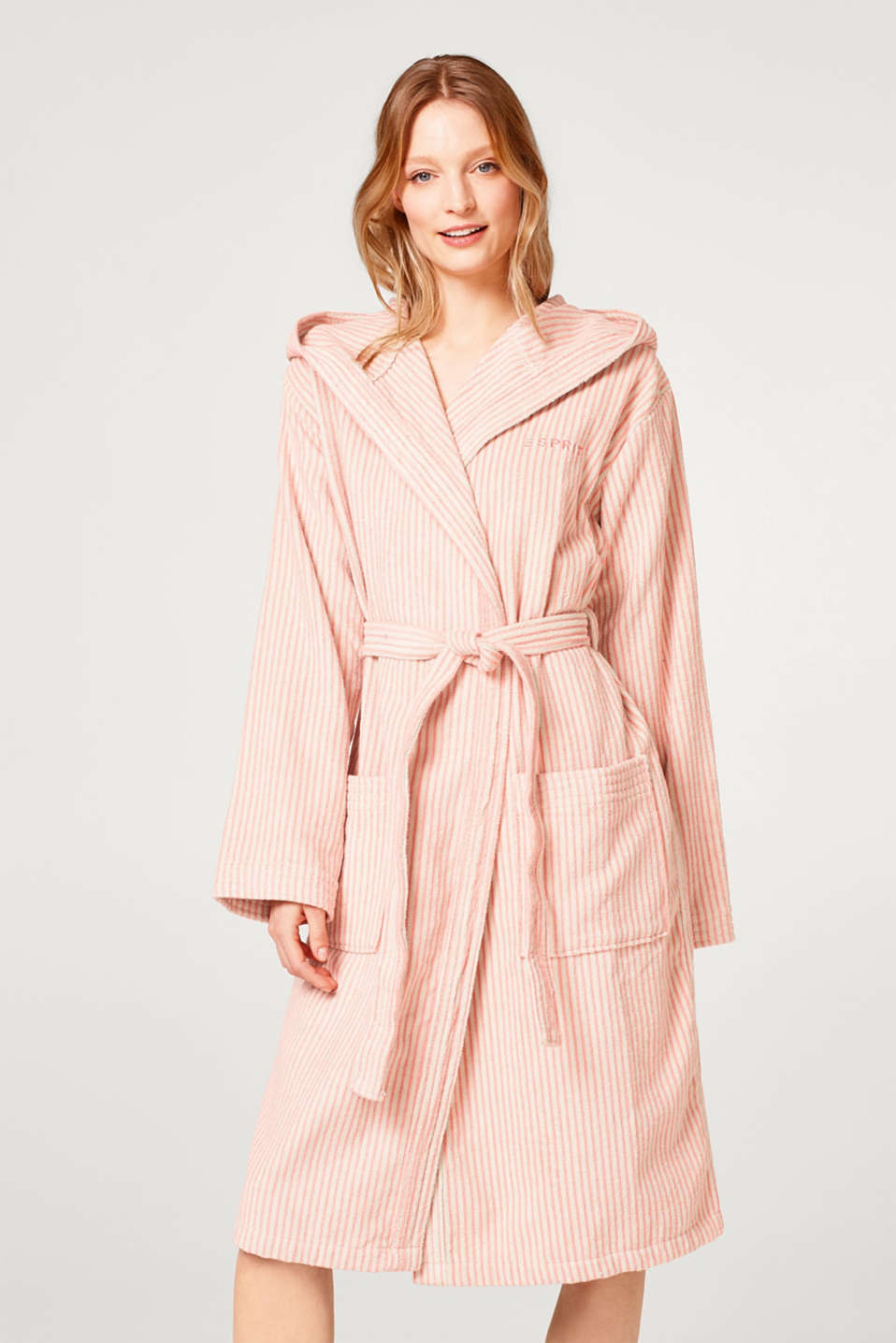 Terrycloth bathrobe in 100% cotton, OATMEAL/DUSTY, detail image number 0